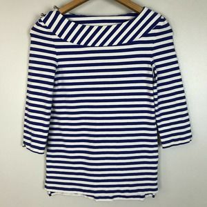 Kate Spade Blue White Striped Bow Back Tee